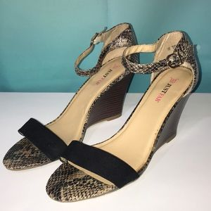 Just Fab Snake Print Wedge Sandals